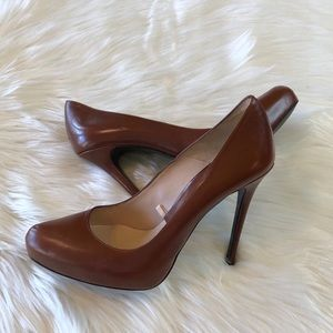 Zara Woman Cognac Leather High Heels 40